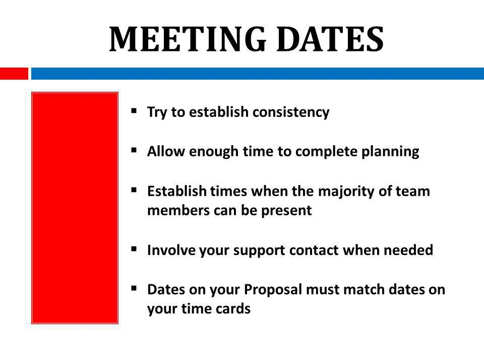 MEETING DATES Try to establish consistency Allow enough time to complete planning Establish times when the majority of team members can be present Involve your support contact when needed Dates on your Proposal must match dates on your time cards