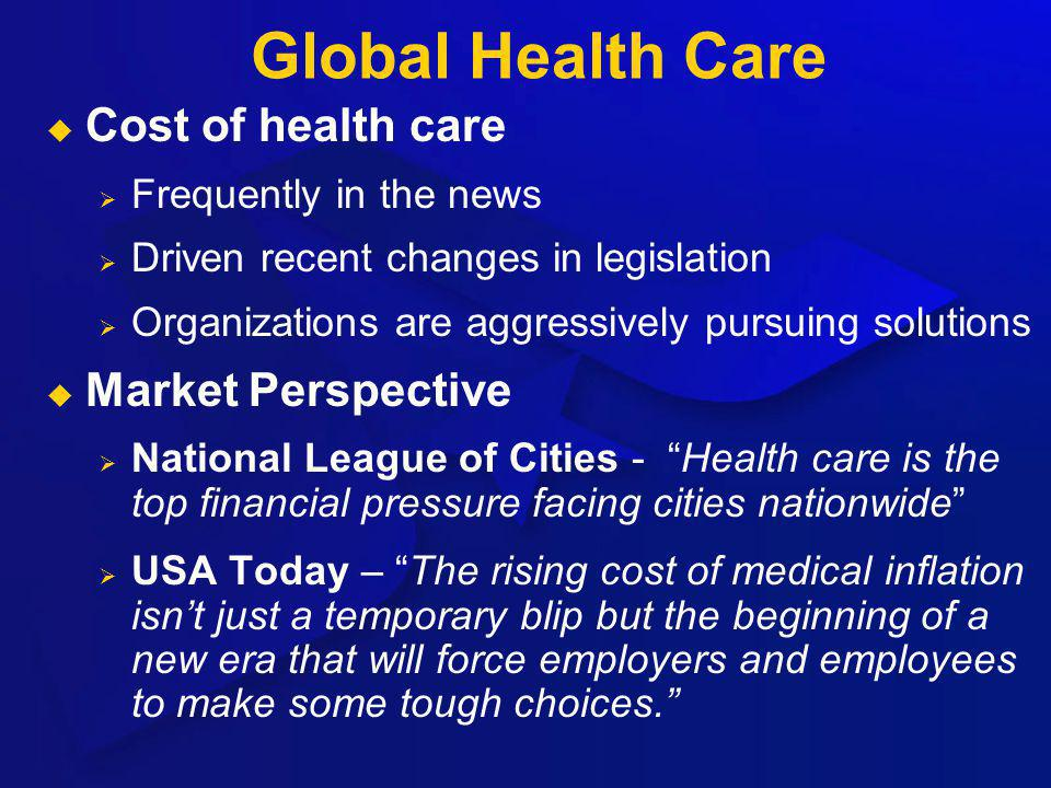 Global Health Care Cost of health care Frequently in the news Driven recent changes in legislation Organizations are aggressively pursuing solutions M