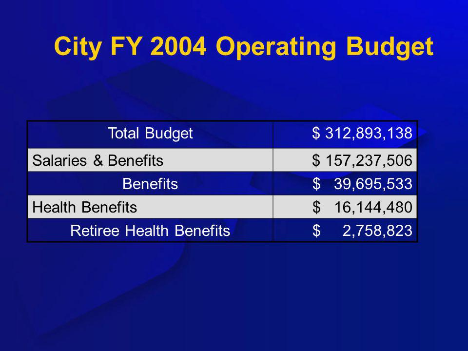 City FY 2004 Operating Budget Total Budget$ 312,893,138 Salaries & Benefits$ 157,237,506 Benefits$ 39,695,533 Health Benefits$ 16,144,480 Retiree Heal