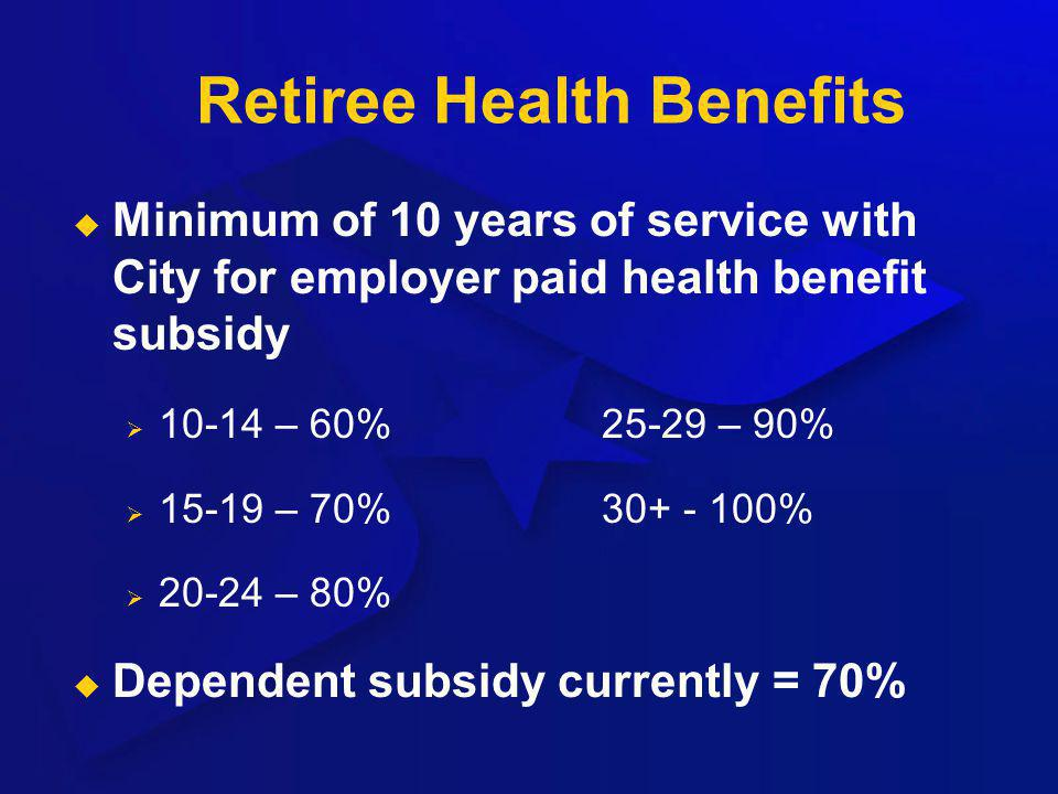 Retiree Health Benefits Minimum of 10 years of service with City for employer paid health benefit subsidy 10-14 – 60%25-29 – 90% 15-19 – 70%30+ - 100%