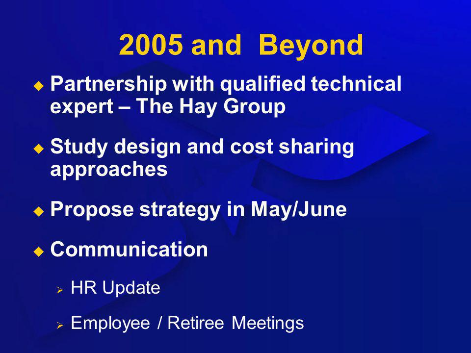 2005 and Beyond Partnership with qualified technical expert – The Hay Group Study design and cost sharing approaches Propose strategy in May/June Comm