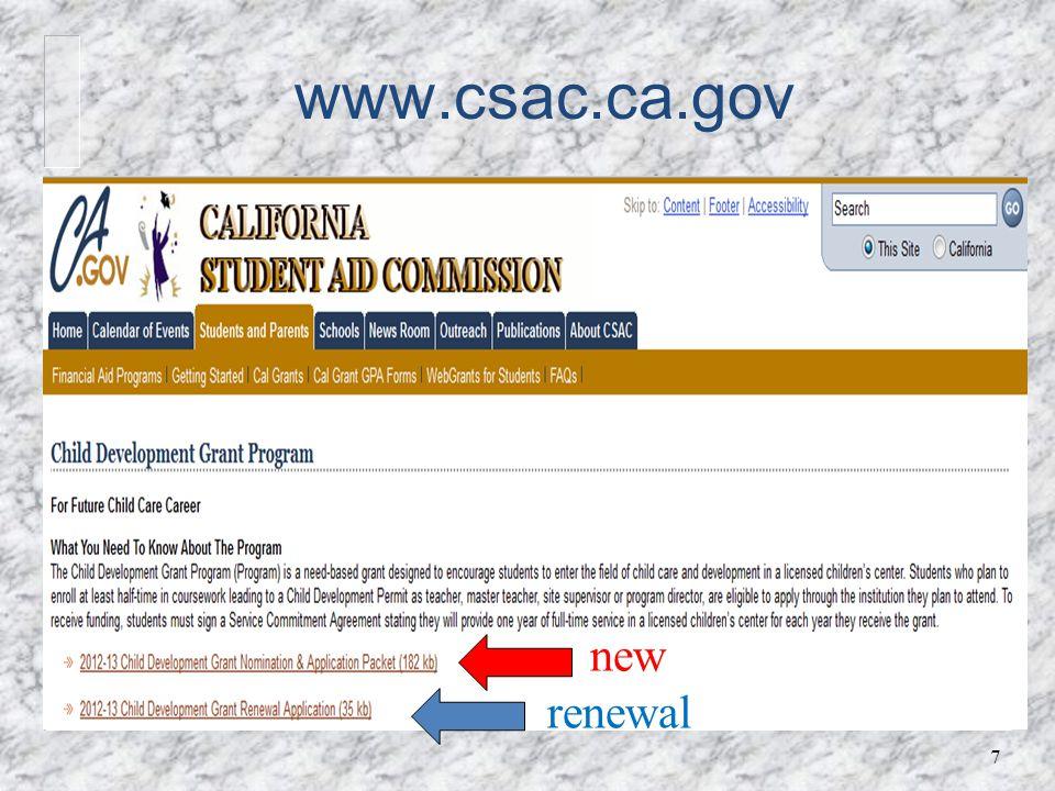 www.csac.ca.gov 7 new renewal