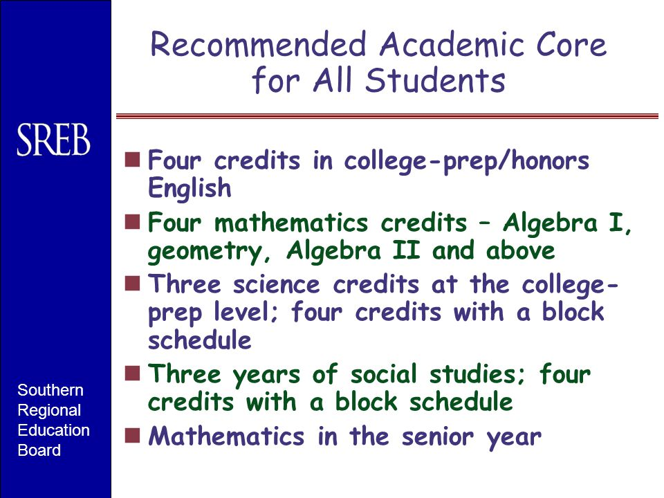 Recommended Academic Core for All Students Four credits in college-prep/honors English Four mathematics credits – Algebra I, geometry, Algebra II and