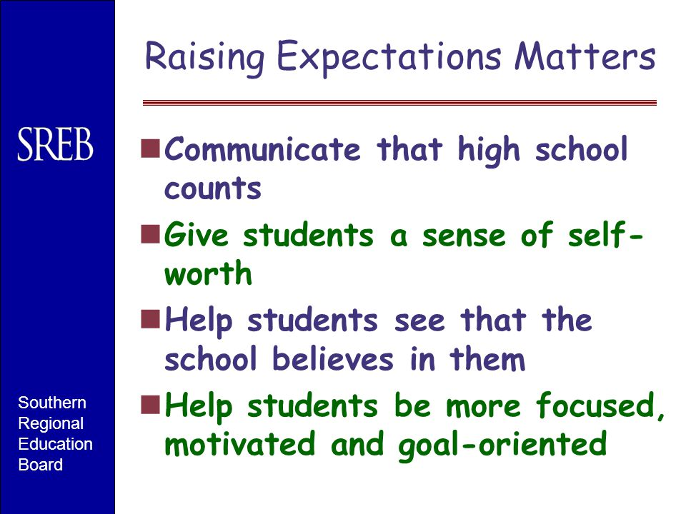 Raising Expectations Matters Communicate that high school counts Give students a sense of self- worth Help students see that the school believes in them Help students be more focused, motivated and goal-oriented Southern Regional Education Board