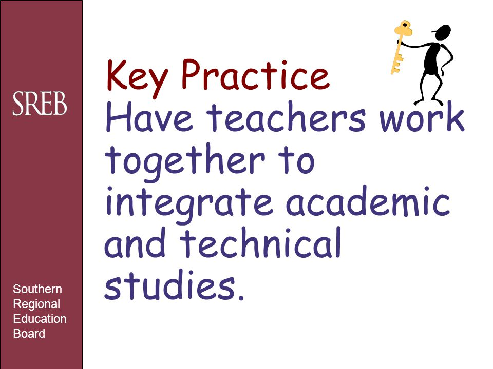 Key Practice Have teachers work together to integrate academic and technical studies. Southern Regional Education Board