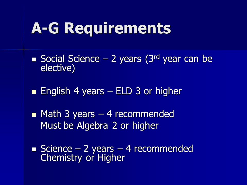A-G Requirements Social Science – 2 years (3 rd year can be elective) Social Science – 2 years (3 rd year can be elective) English 4 years – ELD 3 or