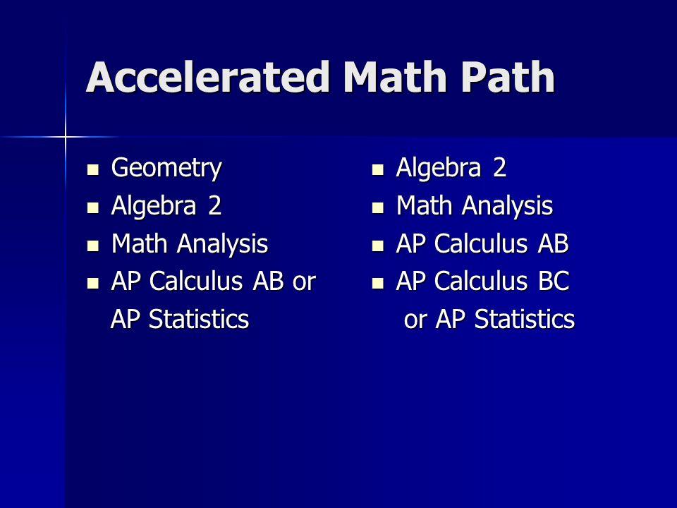 Accelerated Math Path Geometry Geometry Algebra 2 Algebra 2 Math Analysis Math Analysis AP Calculus AB or AP Calculus AB or AP Statistics AP Statistic