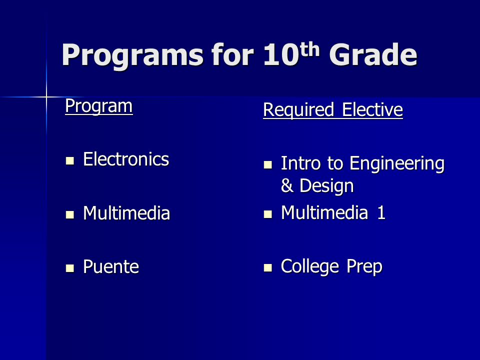 Programs for 10 th Grade Program Electronics Electronics Multimedia Multimedia Puente Puente Required Elective Intro to Engineering & Design Intro to Engineering & Design Multimedia 1 Multimedia 1 College Prep College Prep