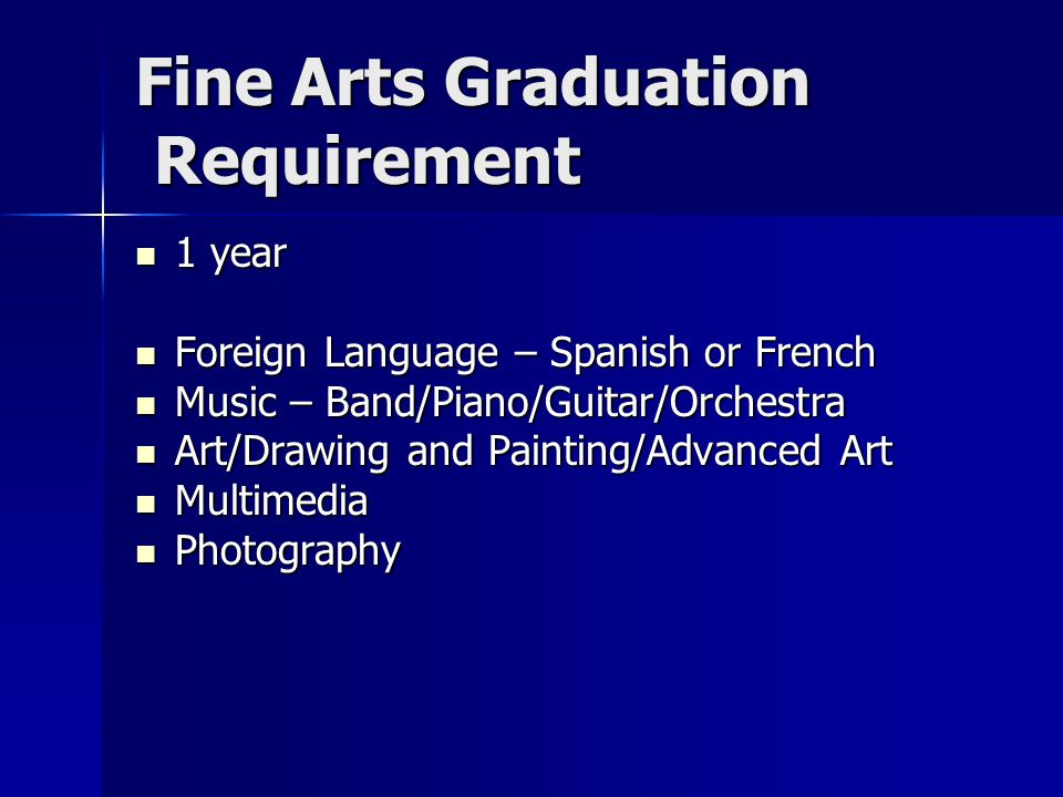 Fine Arts Graduation Requirement 1 year 1 year Foreign Language – Spanish or French Foreign Language – Spanish or French Music – Band/Piano/Guitar/Orchestra Music – Band/Piano/Guitar/Orchestra Art/Drawing and Painting/Advanced Art Art/Drawing and Painting/Advanced Art Multimedia Multimedia Photography Photography
