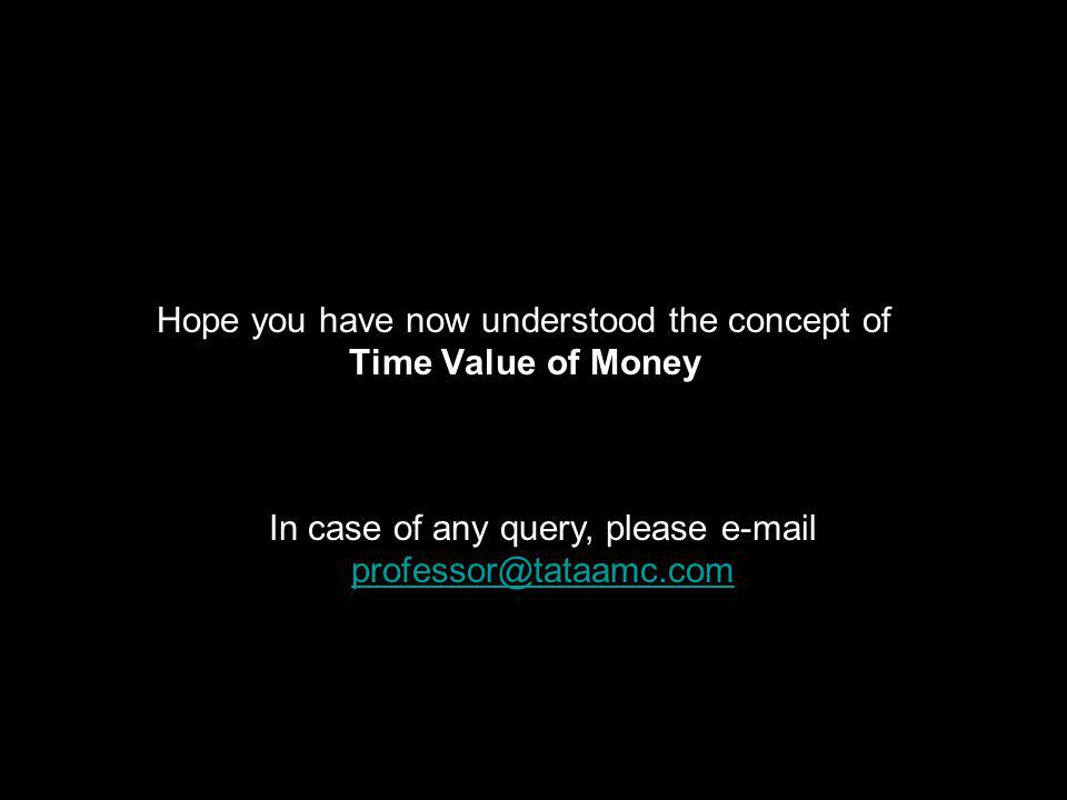 Hope you have now understood the concept of Time Value of Money In case of any query, please e-mail professor@tataamc.com