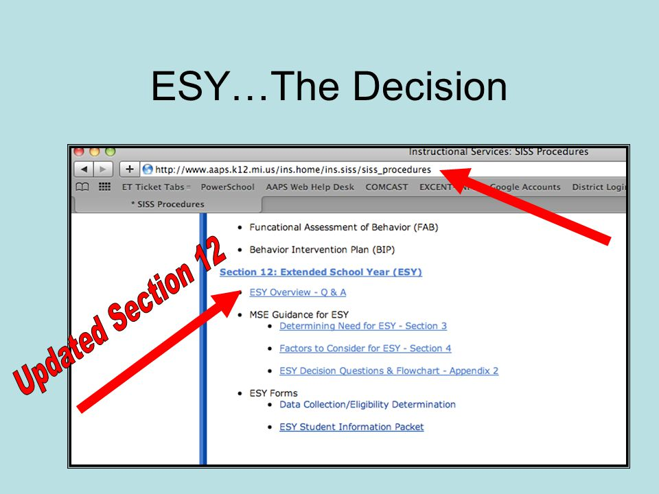 ESY…The Decision