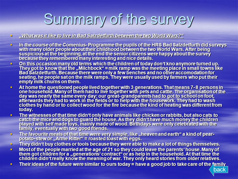 Summary of the survey What was it like to live in Bad Salzdetfurth between the two World Wars? What was it like to live in Bad Salzdetfurth between th