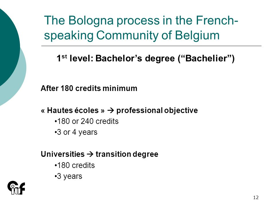 12 The Bologna process in the French- speaking Community of Belgium 1 st level: Bachelors degree (Bachelier) After 180 credits minimum « Hautes écoles » professional objective 180 or 240 credits 3 or 4 years Universities transition degree 180 credits 3 years