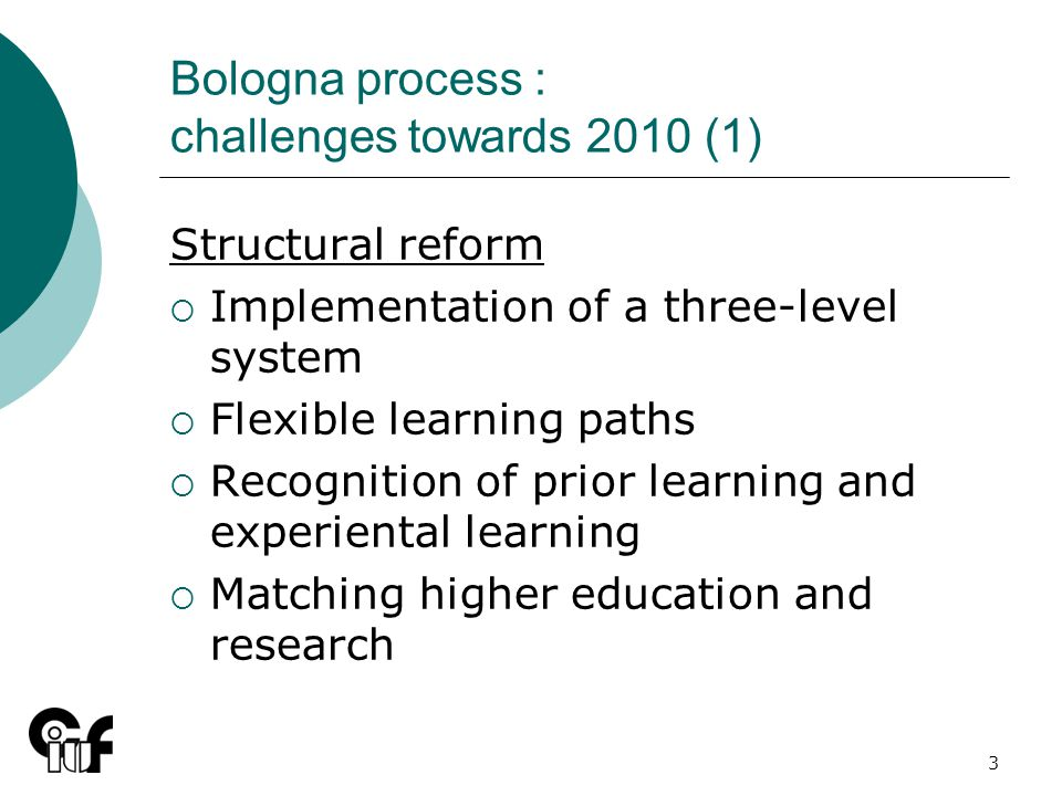 3 Bologna process : challenges towards 2010 (1) Structural reform Implementation of a three-level system Flexible learning paths Recognition of prior learning and experiental learning Matching higher education and research