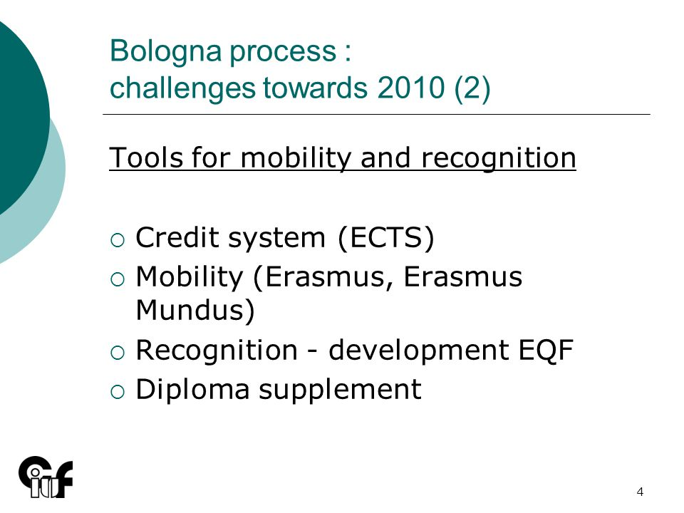 4 Bologna process : challenges towards 2010 (2) Tools for mobility and recognition Credit system (ECTS) Mobility (Erasmus, Erasmus Mundus) Recognition - development EQF Diploma supplement