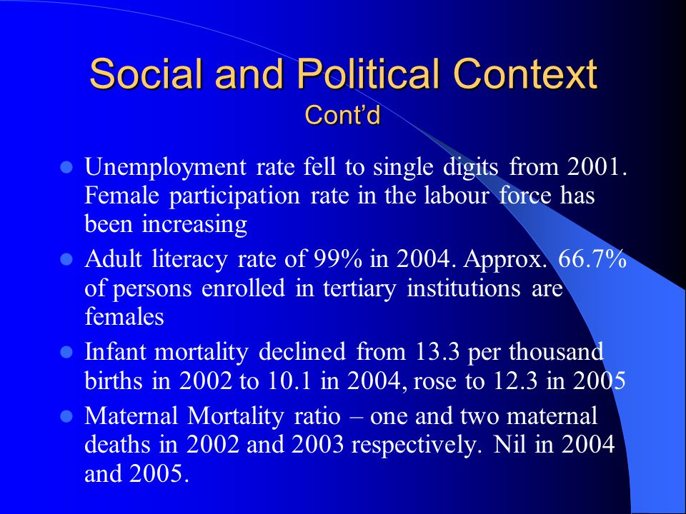 Social and Political Context Contd Unemployment rate fell to single digits from 2001.