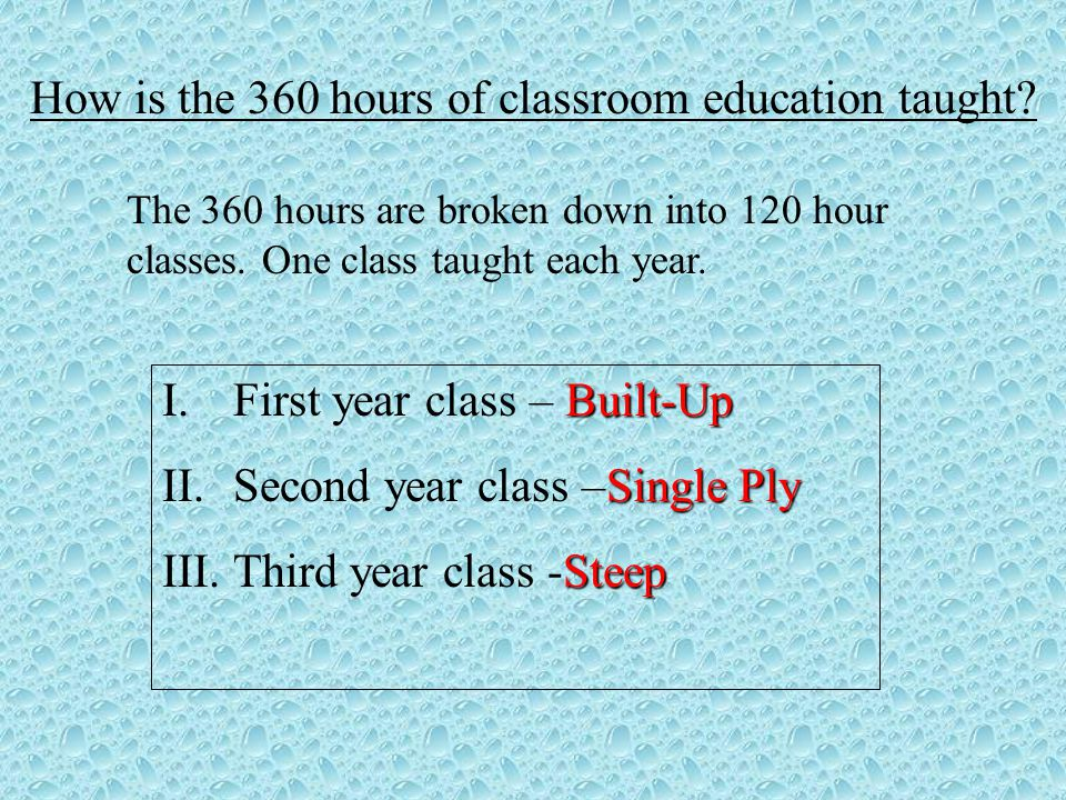 How is the 360 hours of classroom education taught.
