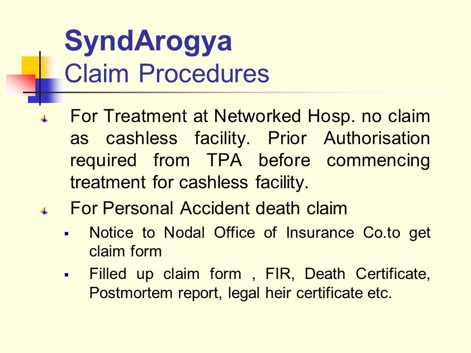 SyndArogya Claim Procedures For Treatment at Networked Hosp.