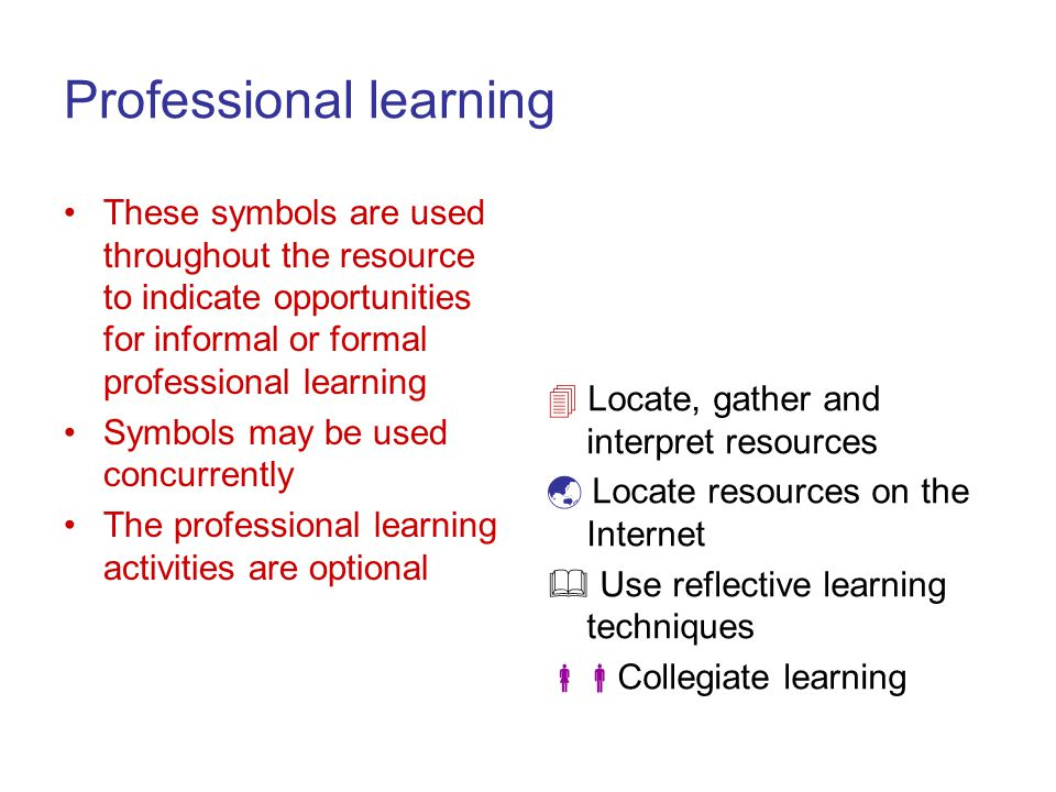 Professional learning These symbols are used throughout the resource to indicate opportunities for informal or formal professional learning Symbols may be used concurrently The professional learning activities are optional Locate, gather and interpret resources Locate resources on the Internet Use reflective learning techniques Collegiate learning