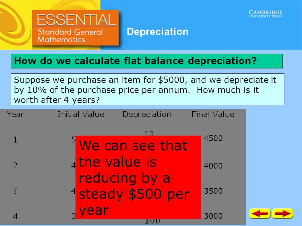 Depreciation How do we calculate flat balance depreciation? Suppose we purchase an item for $5000, and we depreciate it by 10% of the purchase price p