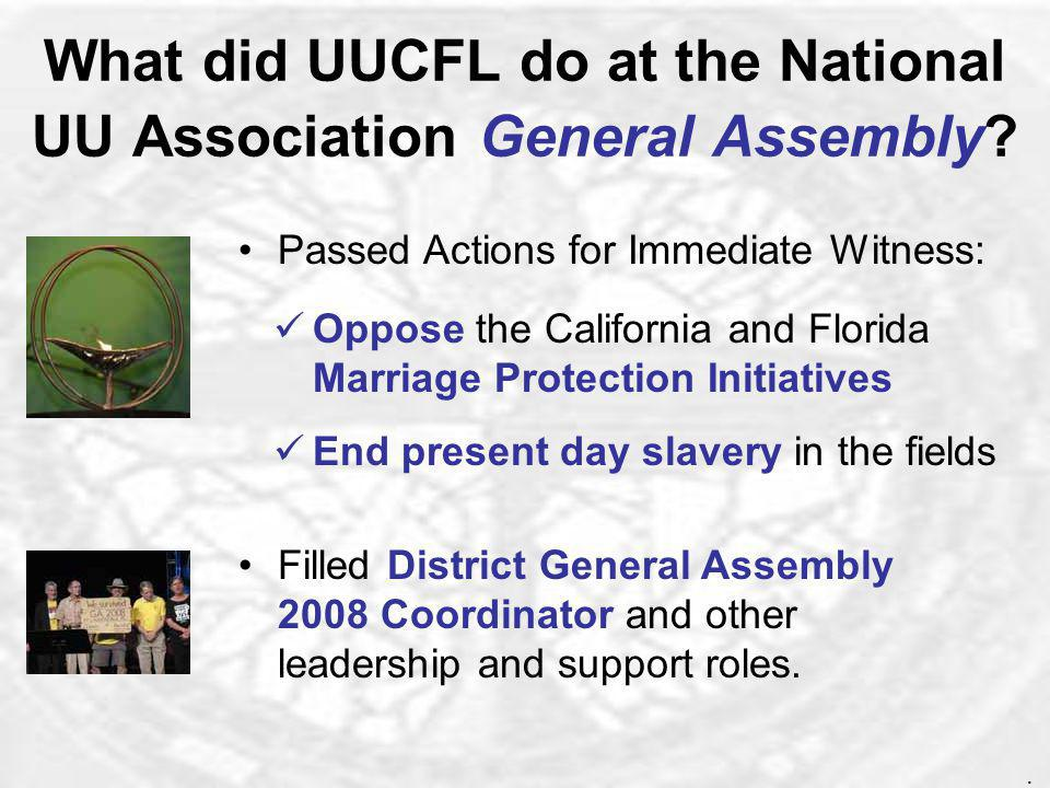 Where has UUCFL participated in the larger UU community? Southeast Unitarian Universalist Summer Institute (SUUSI) Southeast Winter Institute in Miami