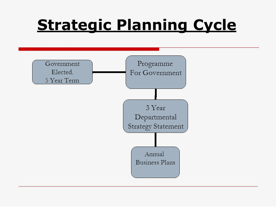 Strategic Planning Cycle Programme For Government 3 Year Departmental Strategy Statement Annual Business Plans Government Elected.