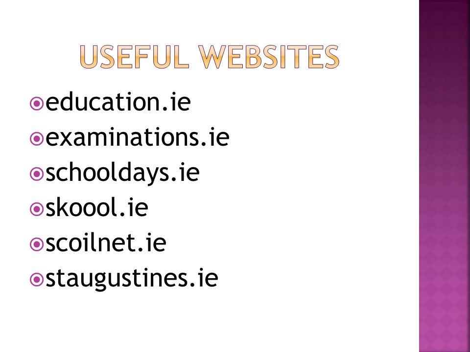 education.ie examinations.ie schooldays.ie skoool.ie scoilnet.ie staugustines.ie