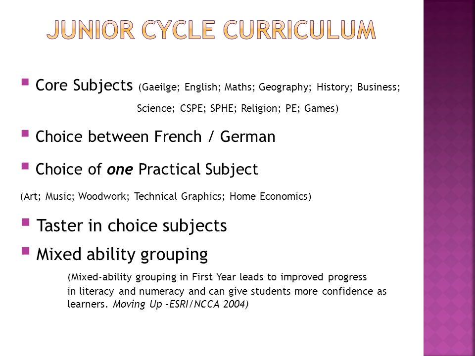 Core Subjects (Gaeilge; English; Maths; Geography; History; Business; Science; CSPE; SPHE; Religion; PE; Games) Choice between French / German Choice