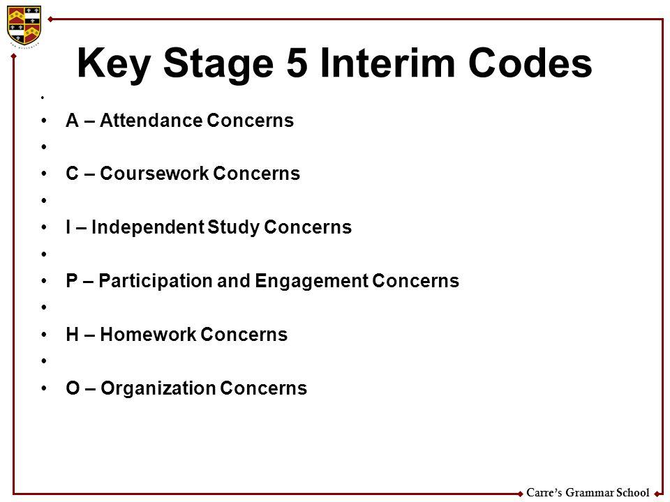 Carres Grammar School Key Stage 5 Interim Codes A – Attendance Concerns C – Coursework Concerns I – Independent Study Concerns P – Participation and E