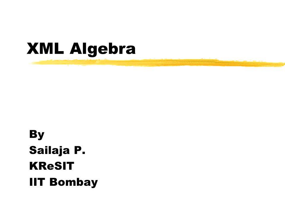 XML Algebra By Sailaja P. KReSIT IIT Bombay