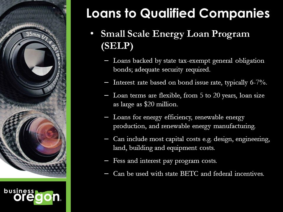 Small Scale Energy Loan Program (SELP) – Loans backed by state tax-exempt general obligation bonds; adequate security required.