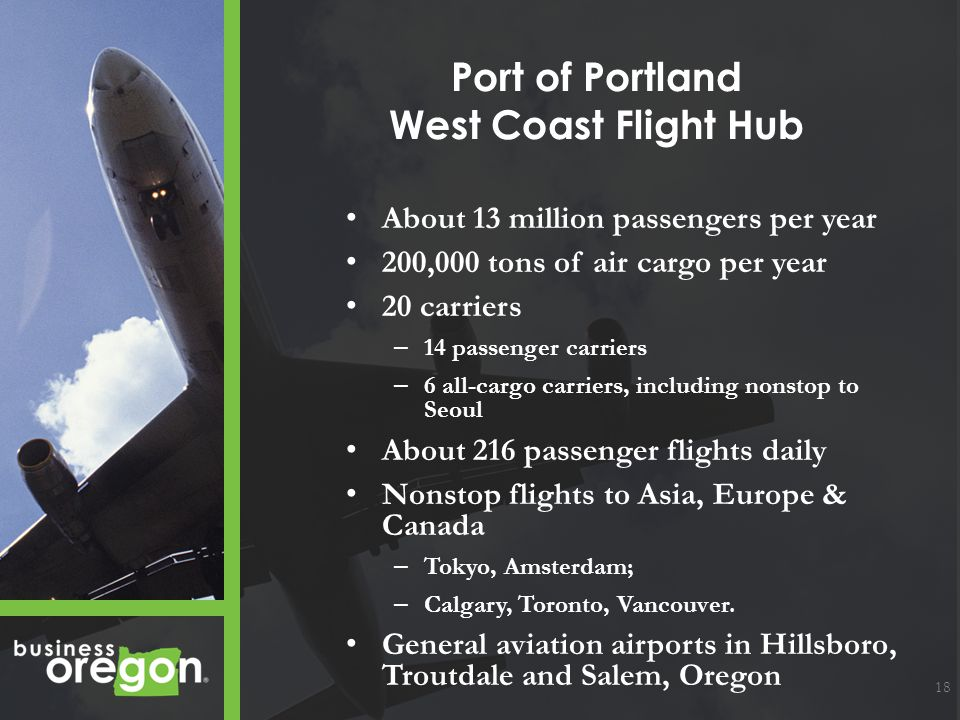Port of Portland West Coast Flight Hub About 13 million passengers per year 200,000 tons of air cargo per year 20 carriers – 14 passenger carriers – 6 all-cargo carriers, including nonstop to Seoul About 216 passenger flights daily Nonstop flights to Asia, Europe & Canada – Tokyo, Amsterdam; – Calgary, Toronto, Vancouver.