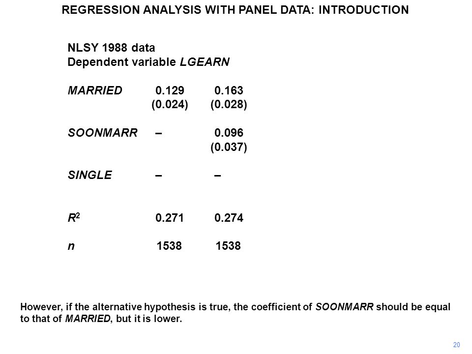 NLSY 1988 data Dependent variable LGEARN MARRIED0.1290.163– (0.024)(0.028) SOONMARR–0.096–0.066 (0.037)(0.034) SINGLE–––0.163 (0.028) R 2 0.2710.2740.