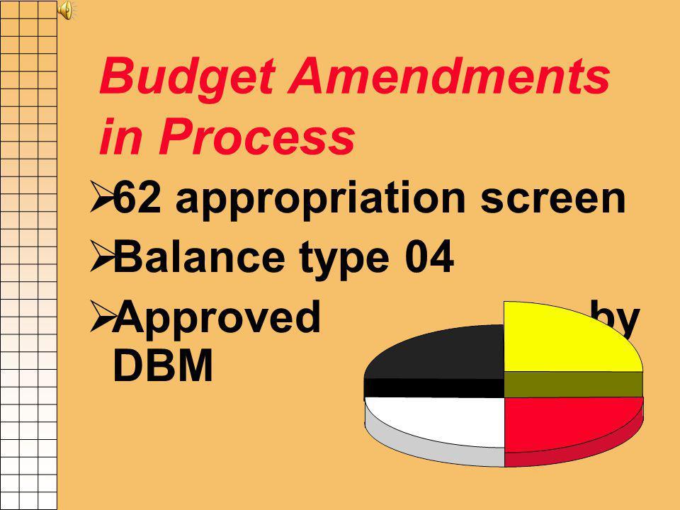 Budget Amendments Submit to DBM - June 14 Agencies must record all Budget Amendments in process beginning June 1 T/C 027 Increase appropriation Decrea