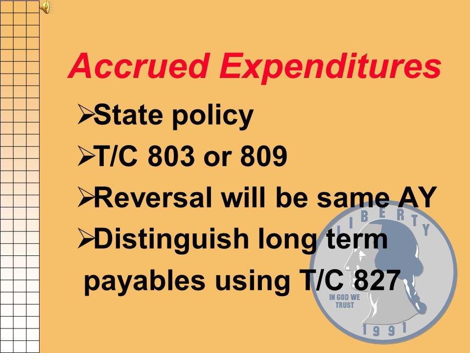Order of Recording Appropriated Balances PAccounts Payable PAccrued Expenditures PEncumbrances