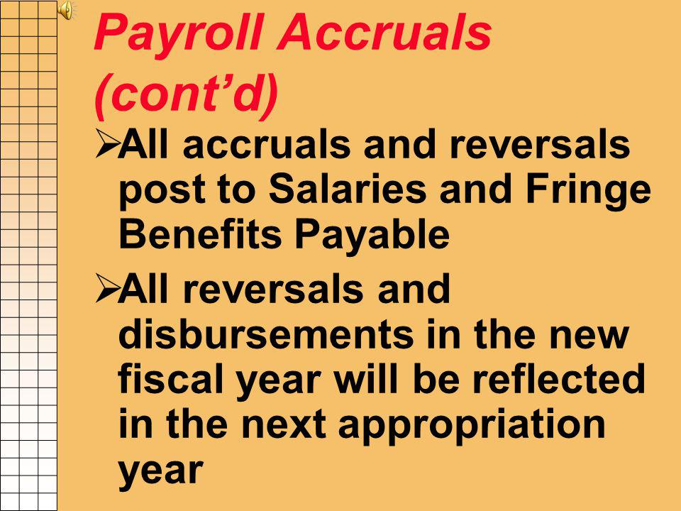 Payroll Accruals (contd) Contractual- Accrue 12/14 days X PPE 6/4 payroll Contractual- PPE 6/18 disbursed in fiscal year being closed Contractual- PPE 7/2 disbursed in next fiscal year