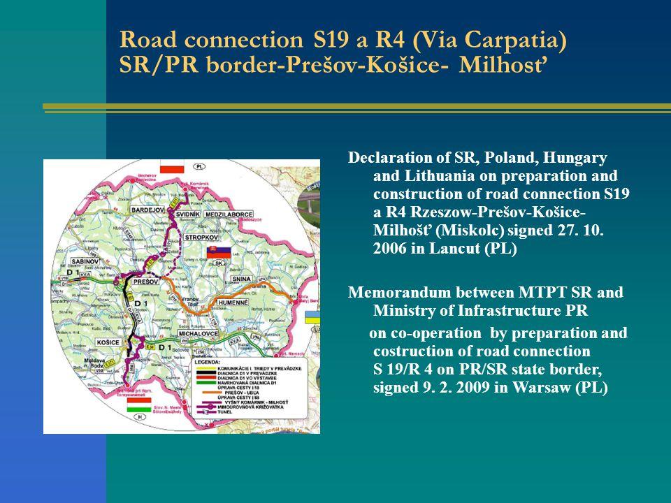 Road connection S19 a R4 (Via Carpatia) SR/PR border-Prešov-Košice- Milhosť Declaration of SR, Poland, Hungary and Lithuania on preparation and construction of road connection S19 a R4 Rzeszow-Prešov-Košice- Milhošť (Miskolc) signed 27.