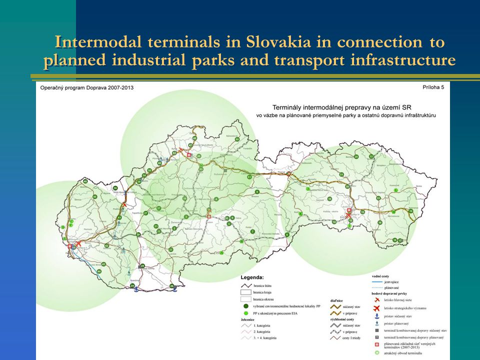 Intermodal terminals in Slovakia in connection to planned industrial parks and transport infrastructure