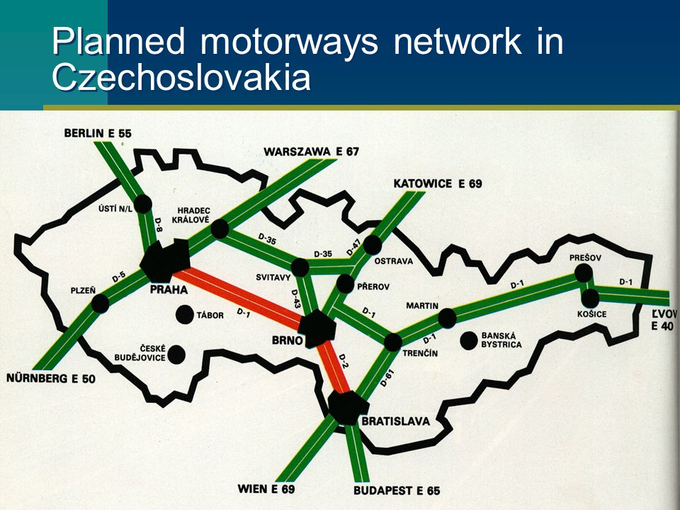 Planned motorways network in Czechoslovakia