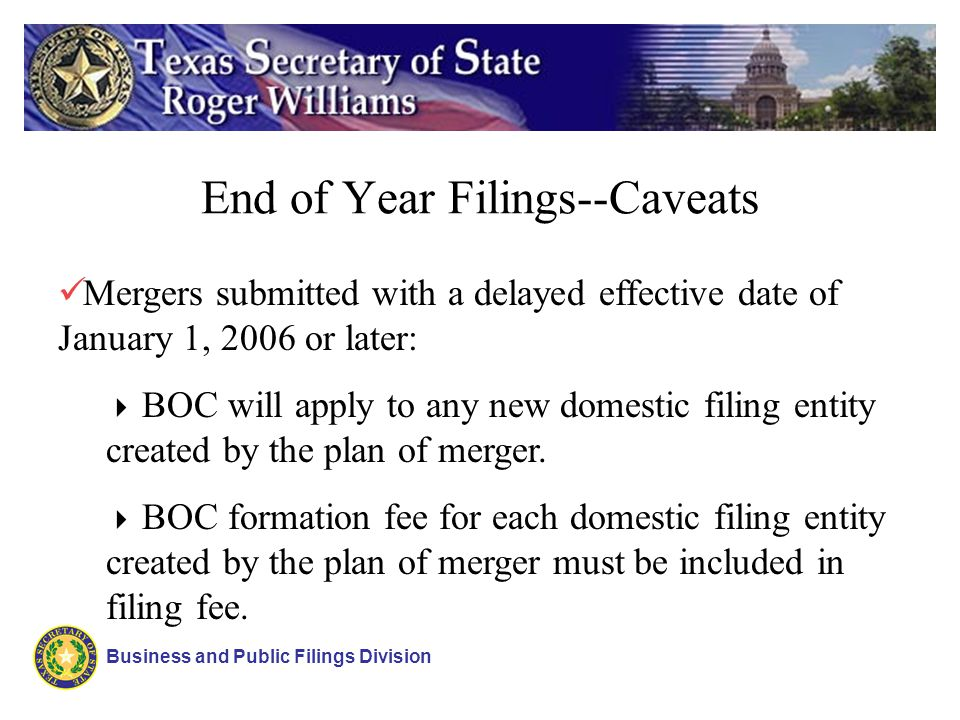 End of Year Filings--Caveats Business and Public Filings Division Mergers submitted with a delayed effective date of January 1, 2006 or later: BOC will apply to any new domestic filing entity created by the plan of merger.