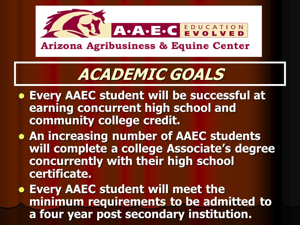ACADEMIC GOALS Every AAEC student will be successful at earning concurrent high school and community college credit. Every AAEC student will be succes