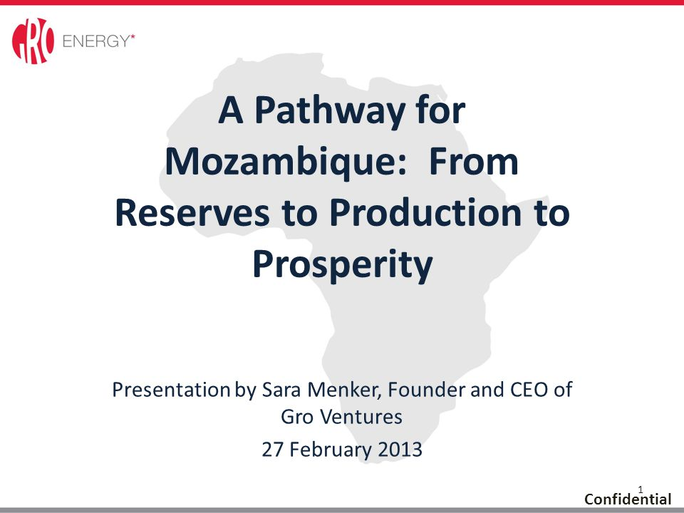 1 Confidential Presentation by Sara Menker, Founder and CEO of Gro Ventures 27 February 2013 A Pathway for Mozambique: From Reserves to Production to