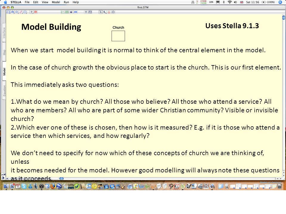 When we start model building it is normal to think of the central element in the model. In the case of church growth the obvious place to start is the