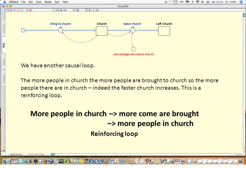 More people in church –> more come are brought –> more people in church Reinforcing loop We have another causal loop.