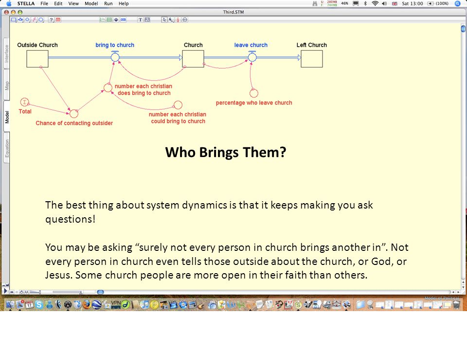 Who Brings Them? The best thing about system dynamics is that it keeps making you ask questions! You may be asking surely not every person in church b