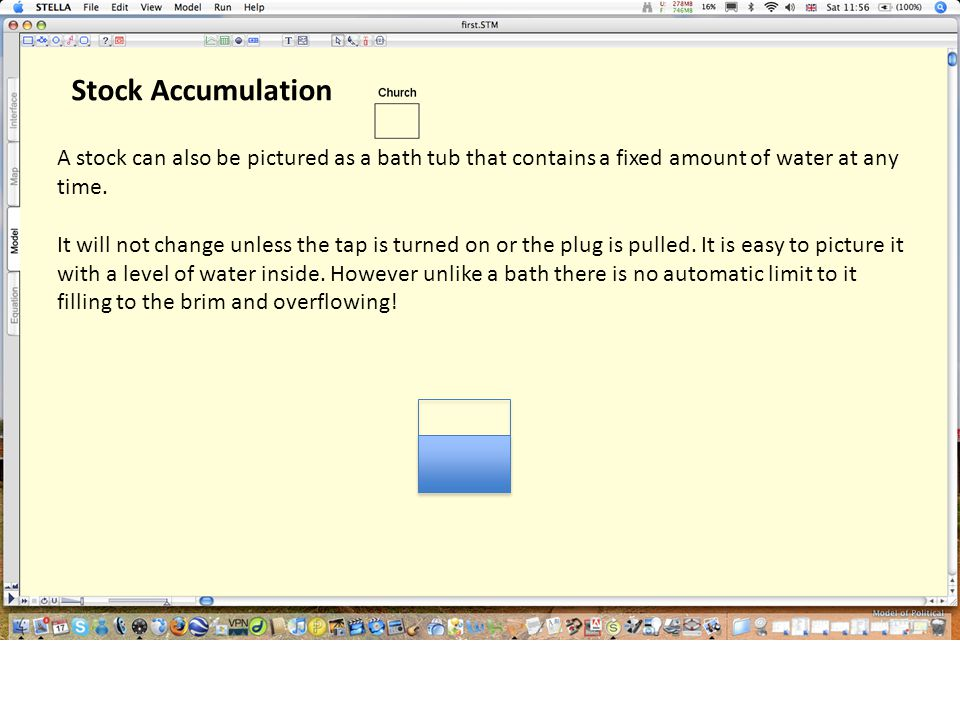 Stock Accumulation A stock can also be pictured as a bath tub that contains a fixed amount of water at any time. It will not change unless the tap is