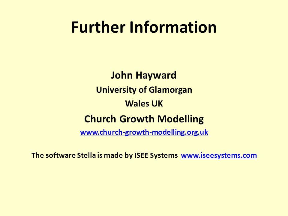 Further Information John Hayward University of Glamorgan Wales UK Church Growth Modelling www.church-growth-modelling.org.uk The software Stella is ma