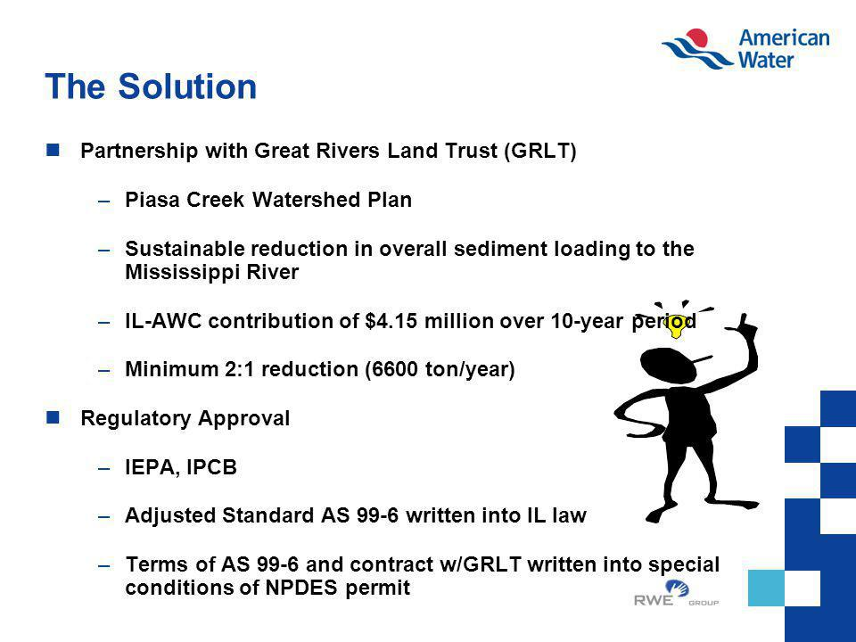 The Solution Partnership with Great Rivers Land Trust (GRLT) –Piasa Creek Watershed Plan –Sustainable reduction in overall sediment loading to the Mis