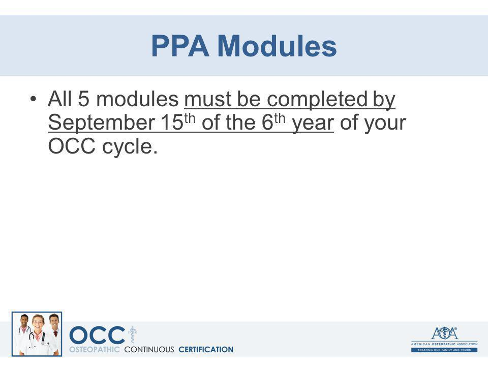PPA Modules All 5 modules must be completed by September 15 th of the 6 th year of your OCC cycle.