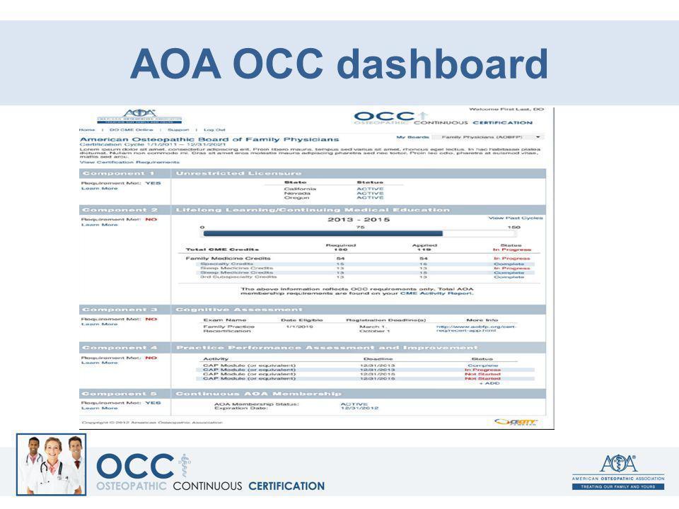 AOA OCC dashboard